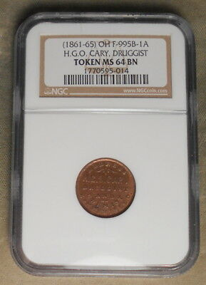 Zanesville OH 995A-2a H.G.O Cary Cough Cure NGC Graded MS64 Brown Highest Graded