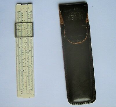 Vintage Hemmi Bamboo Pocket Slide Rule With Leather Case