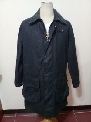 Mens BARBOUR Border WAXED Jacket Navy Size 38