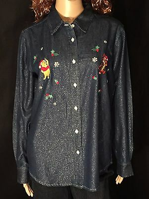 Winnie the Pooh Tiger Disney Christmas Sparkles Womens Large Button-Down Shirt