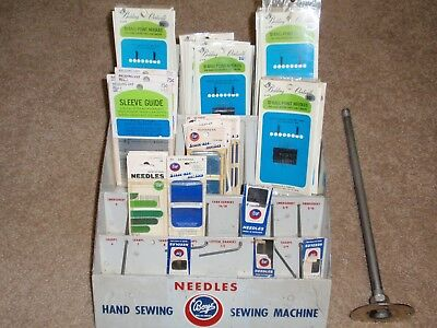 BOYE NEEDLES STORE DISPLAY CASE WITH STAND - and 59 NEEDLE PACKS - SEWING