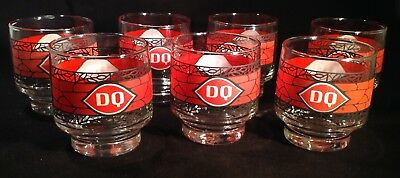 80's DAIRY QUEEN Christmas Promo Sundae Glasses Set (6) Diner Collectibles Exc