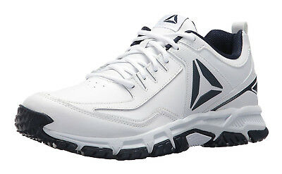 Reebok Ridgerider White, Collegiate Navy Leather Mens Running Tennis Shoes