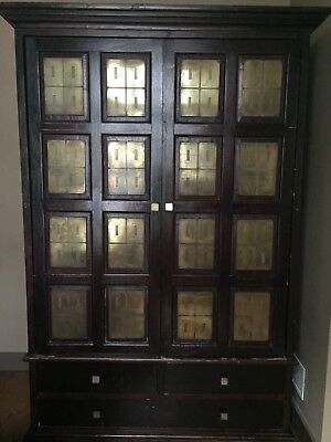 Art Deco Antique Vintage Armoire Cupboard with Bronze Inlay
