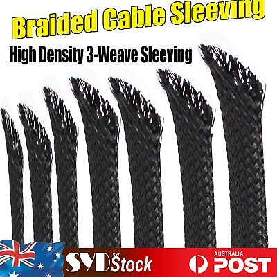 4M - Expandable Cable Sleeving Braided Loom Tubing Wire Guards Protecting Wrap
