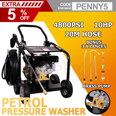 NEW Jet Cleaner 4800 PSI 10HP High Pressure Washer Petrol Water Gurney 20M Hose