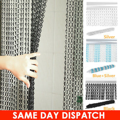 UK Metal Aluminium Chain Door Curtain Blinds Fly Pest Insect Screen Control 2.1M