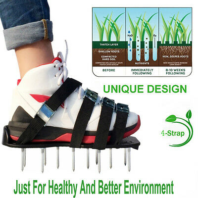 Plastic Lawn Garden Grass 2 Inch Spikes Aerator Aerating Sandals Shoes 4-Strap