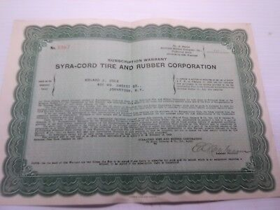 1928 syra - cord tire and rubber subscription warrant syracuse ny stock certific