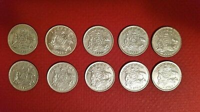 Australian sixpence coins