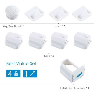 Lots 10pcs Magnetic Cabinet Drawer Cupboard Locks for Baby Kids Safety Proofing