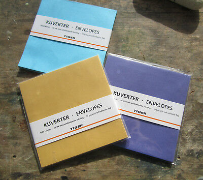 Mustard, Purple, Turquoise Square Envelopes - from Tiger