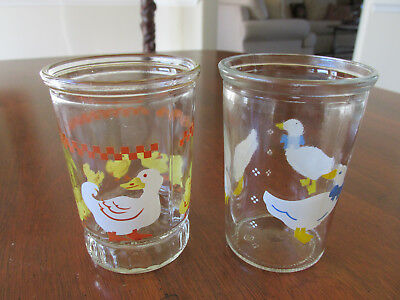 """(2) Vtg Collectible Bama Jelly Jar Juice Glasses- Goose Ducks Ducklings 4"""" Excl"""