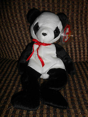 Lot of (2) Ty Beanie Babies Pandas Li Mei Fortune Tag Error Mint with Tags