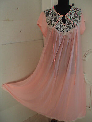 VTG 18.3ms Lucie Ann Pink Spitze 254cm voll Sweep lang Nachthemd Babydoll groß
