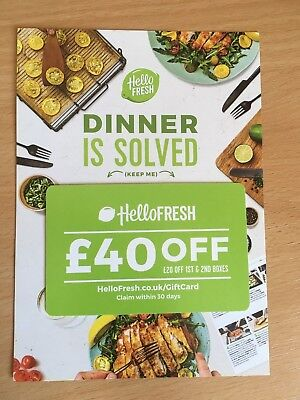 Hello Fresh £40 OFF Food Box Home Cooking Food Gift Voucher Discount Card