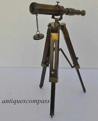 Antique Nautical Vintage Decorative Solid Brass Telescope with Wooden Tripod
