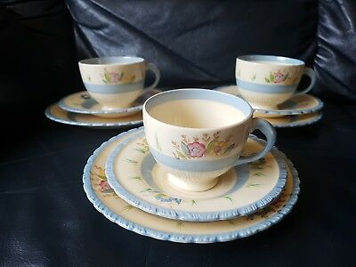 New Hall Hanley 3 x Trios. Cup Saucer and Plate 1950's Hand Painted