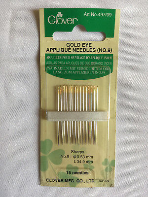 Clover 15 needles, Gold Eye Appliqué No 09, new unopened