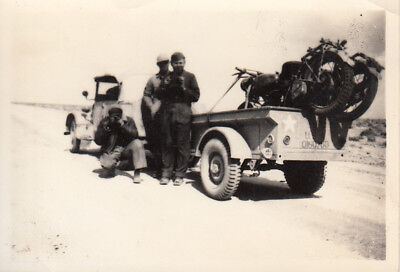Original WWII Photo 98th 376th Bomb Group TRUCK TRAILER MOTORCYCLE 1942 Egypt 26