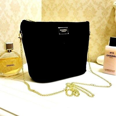 "CHANEL VIP Beauty Black Velour With *Golden Chain*☾Fashion Gift ~ "" FREE POST ""☽"