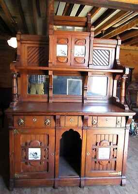 Victorian Modern Gothic Walnut Sideboard With Tiles - Kimbel And Cabus
