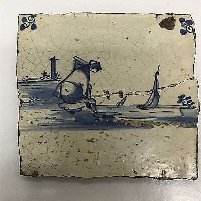 Antique Dutch Delft Tile 17th Century Waterside Collectible