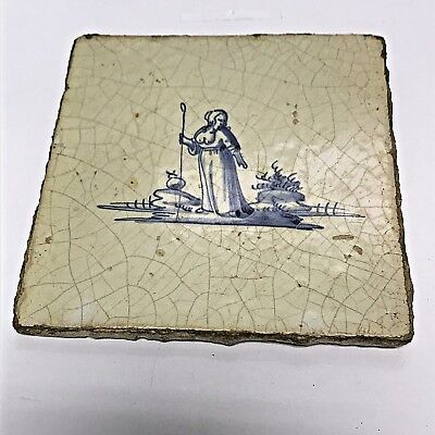 Antique Dutch Delft Tile 17th Century Shepard Woman with Crook Collectible