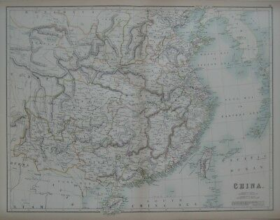 Original 1890 Treaty Ports Map CHINA Shanghai Fuzhou Tientsin Hong Kong Formosa