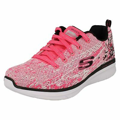 Girls Skechers Synergy 2.0 - High Spirits 81620 Neon Pink/Black Lace Up Trainers