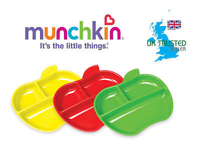 Munchkin Baby Feeding Dishes Food Weaning Lil Apple Plates 3Pk