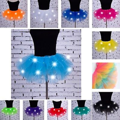 Gonna Tutù Tulle Tutulette Luci LED Danza Casual Teatro Girl Tutu Skirt DAS026