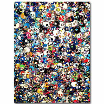 75006 Murakami Takashi Japanese Pop Art Trippy Skull FRAMED CANVAS PRINT UK