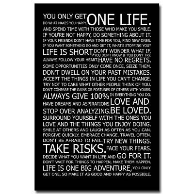 75180 Love Your Life Motivational Quote Wall FRAMED CANVAS PRINT UK