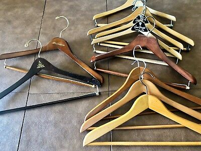 Lot Of Vintage/Hotel Wood Suit Hangers Four Seasons Bellagio Wishbone Laquered
