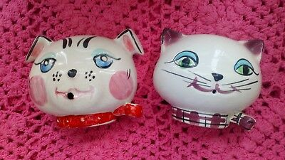 Vintage Pottery Cat and Dog String Holders