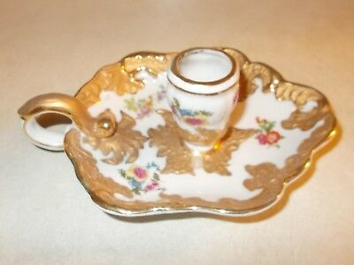 Beautiful Antique/vintage porcelain Candle Holder with heavy gold trim & flowers