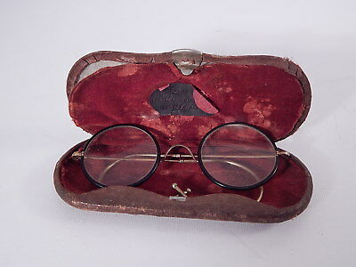 Antichi Occhiali Lenti Tonde Metallo Dorato Celluloide Custodia Antique Glasses