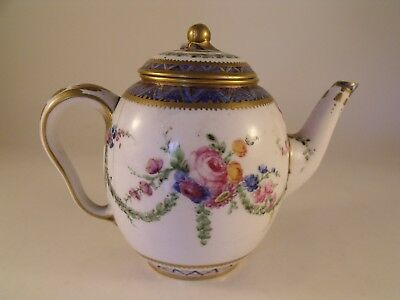 A Rare 18th Century Sevres Porcelain Teapot and Cover - Date Letter for 1783