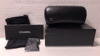 Chanel Sunglasses Hard Case Quilted Black with Box, Cleaning Cloth, Pouch