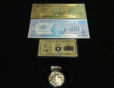 5 Pc.LOT~2 U.S $500 BANKNOTE REPS.*(1 GOLD& 1 SILVER+TINY SILVER BAR+COIN/FLAKEl