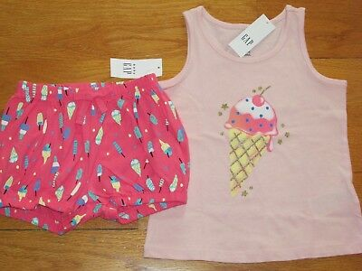 NWT Baby Gap Size 18-24 Months 3t or 5t Butterfly Tank Top Pink Bubble Shorts
