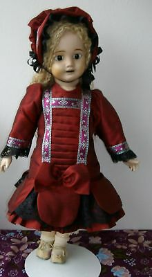 51cm  SMART  FRENCH STYLE SILK OUTFIT FOR YOUR ANTIQUE OR REPRODUCTION DOLL
