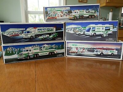 Hess trucks, lot of 5. 1989, 1991, 1995, 1997, 1998. In boxes