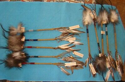 """Talking stick 12.5"""" w/feathers-leather-fur Navajo Traditional creation beads tag"""