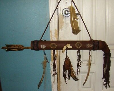 "Navajo Quiver w/2 Large Arrows 21"" w/2 30"" Bone tip arrowheads, beads, leather!!"