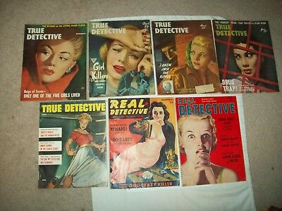 Lot of 7 vintage crime/detective magazines with pinup art covers 1939-56 scarce