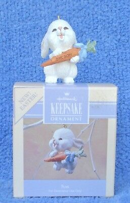 """1990 Hallmark Spring Ornament Easter Bunny With Carrot """"24K Son"""" Mint In Box"""