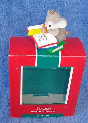 """1989 Hallmark Ornament Mouse W/note """"for A Nice Teacher"""" Mint In Box #575Qx4125"""