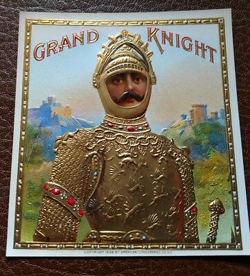 GRAND KNIGHT OUTER CIGAR BOX LABEL Rare 1898 AMERICAN LITHOGRAPHIC CO. NICE!